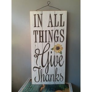 Inspirational Give Thanks Wall Quote Sunflower
